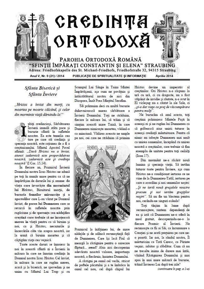 Credinta Ortodoxa Aprilie 2014 (dati click pe imagine pentru a descarca revista)