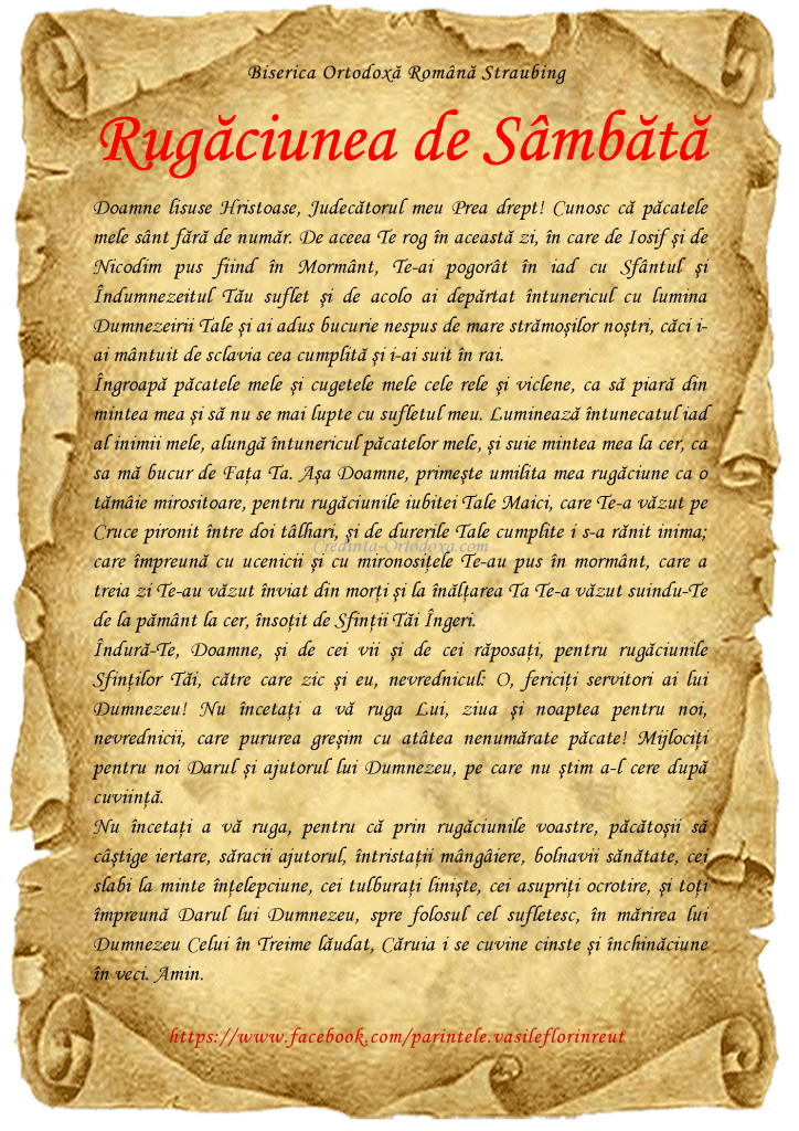 Rugaciunea de sambata * www.credinta-ortodoxa.com