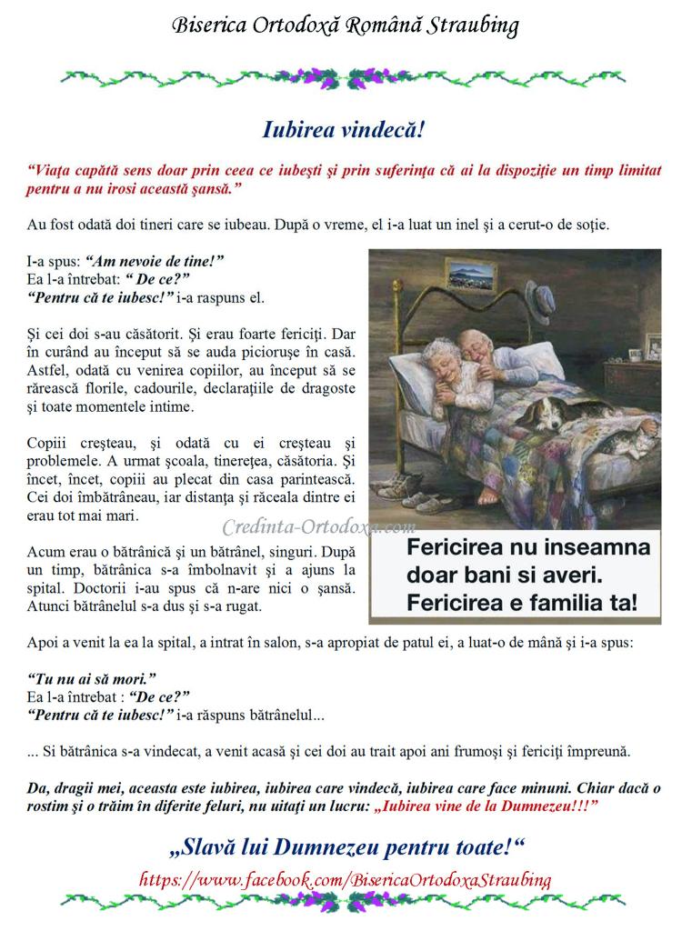 Iubirea adevarata vindeca! * www.credinta-ortodoxa.com
