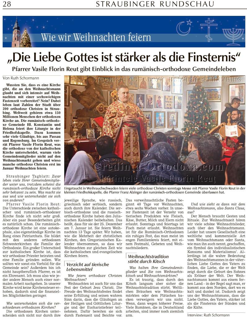 Eingetaucht in Weihrauchschwaden feiern viele orthodoxe Christen sonntags Messe mit Pfarrer Vasile Florin Reut in der kleinen Friedhofskapelle, in die Friedhofstraße 32, Straubing