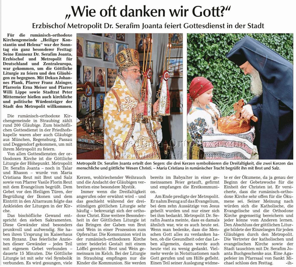 """Artikel über die Kirchengemeinde """"Mariä Geburt"""" Passau in Straubinger Tagblatt: """"Wie oft danken wir Gott?"""""""