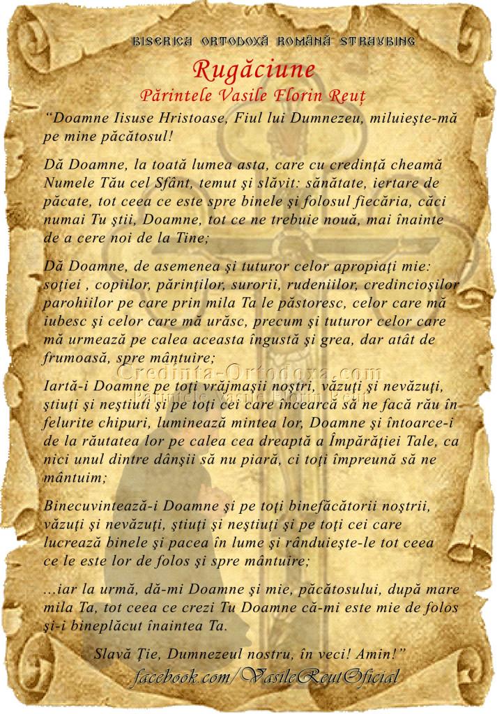 Rugăciune - Părintele Vasile Florin Reuţ