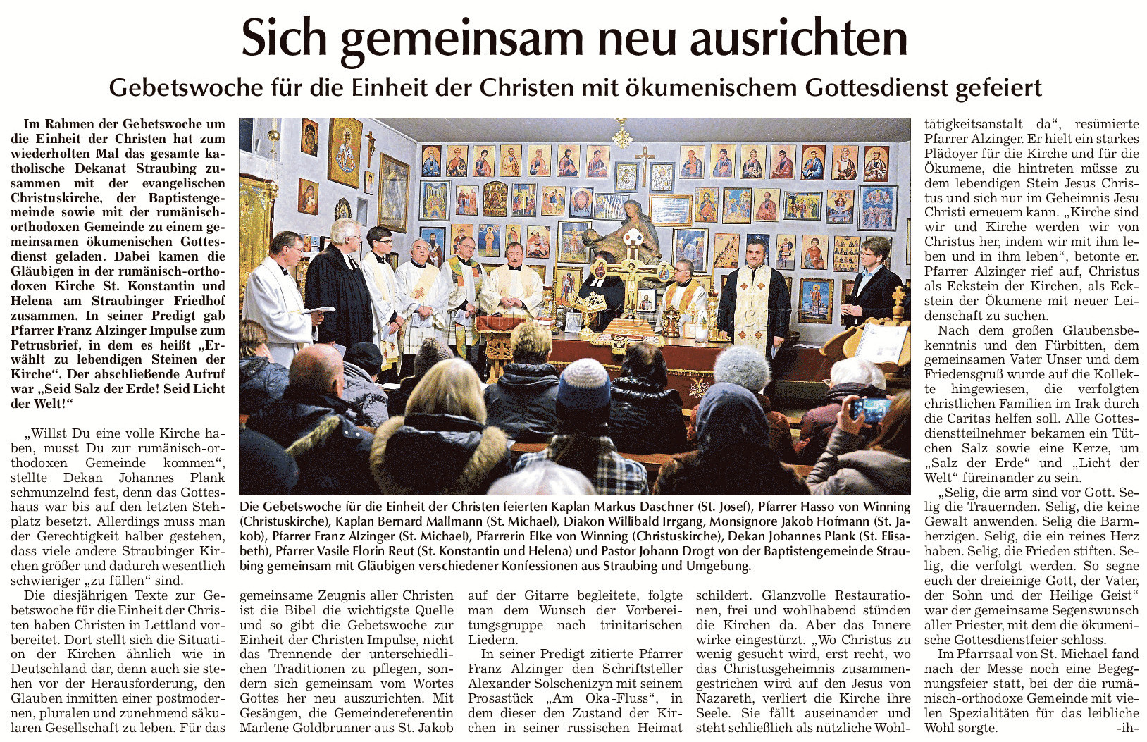 """Straubinger Tagblatt: """"Gebetswoche für die Einheit der Christen mit ökumenischem Gottesdienst in der rumänisch-orthodoxen Kirche Straubing"""