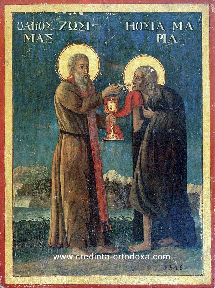 Sfântul Zosima împărtăşind pe Sfânta Maria Egipteanca dupa 47 de ani de pocăinţă
