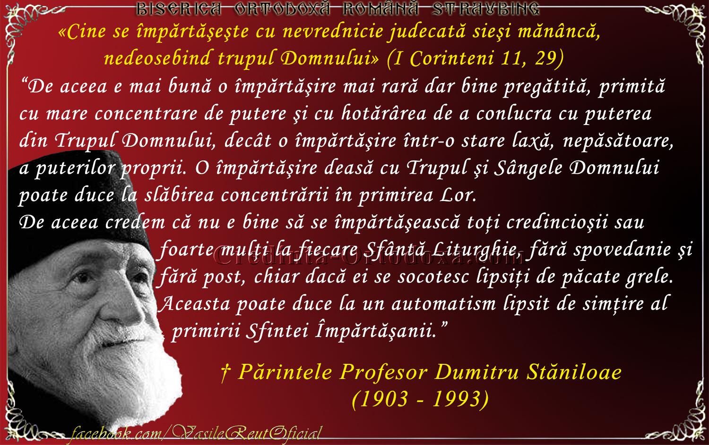 Părintele Profesor Dumitru Stăniloae - despre Sfânta Împărtaşanie şi criteriul privind apropierea de Sfintele Taine