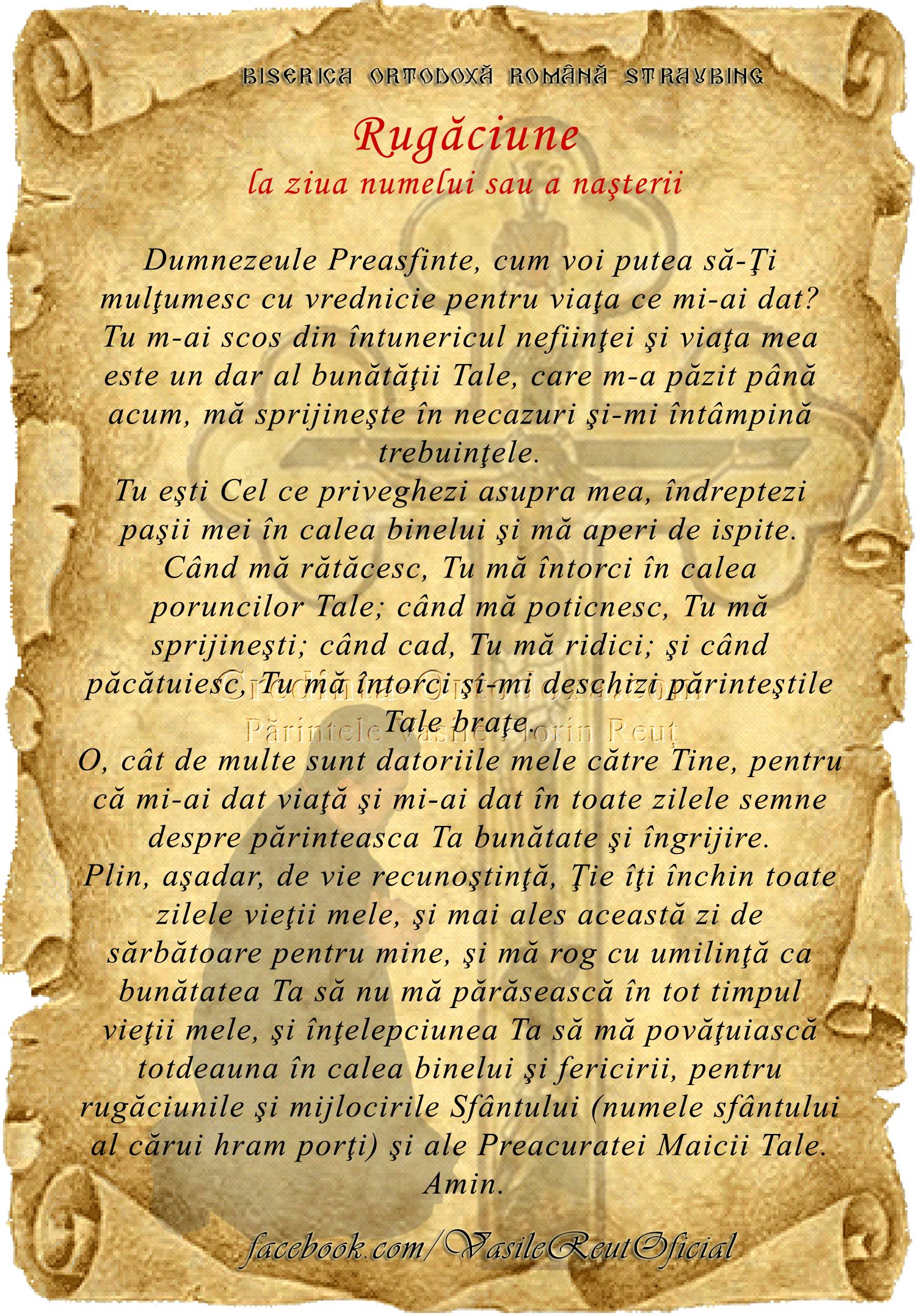 Rugăciune la ziua numelui sau a nașterii
