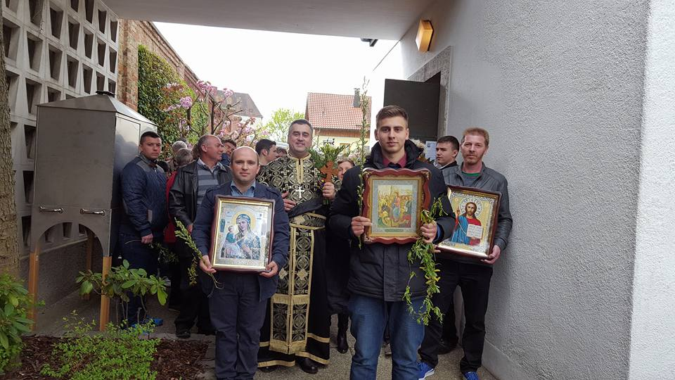 """Sfânta Liturghie şi Procesiune de Florii la Biserica Ortodoxă Română """"Sfinţii Împăraţi Constantin şi Elena"""" din Straubing"""