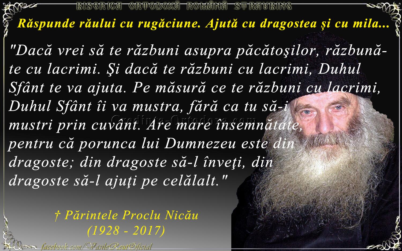 Părintele Proclu Nicău: Cea mai bună metodă de răzbunare asupra păcătoşilor şi a celor care îţi fac rău!