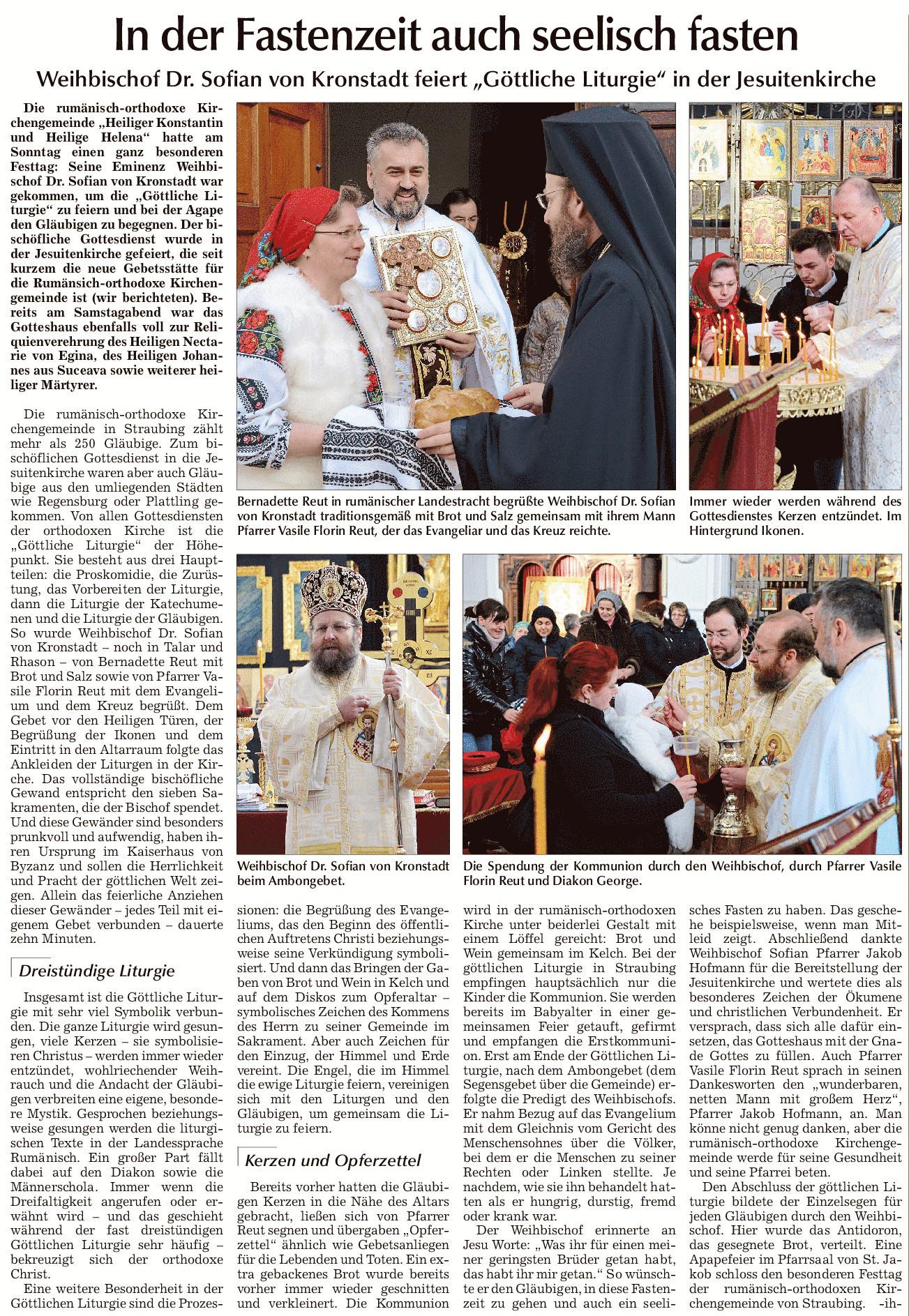 """In der Fastenzeit auch seelisch fasten Weihbischof Dr. Sofian von Kronstadt feiert """"Göttliche Liturgie"""" in der Jesuitenkirche Straubing"""