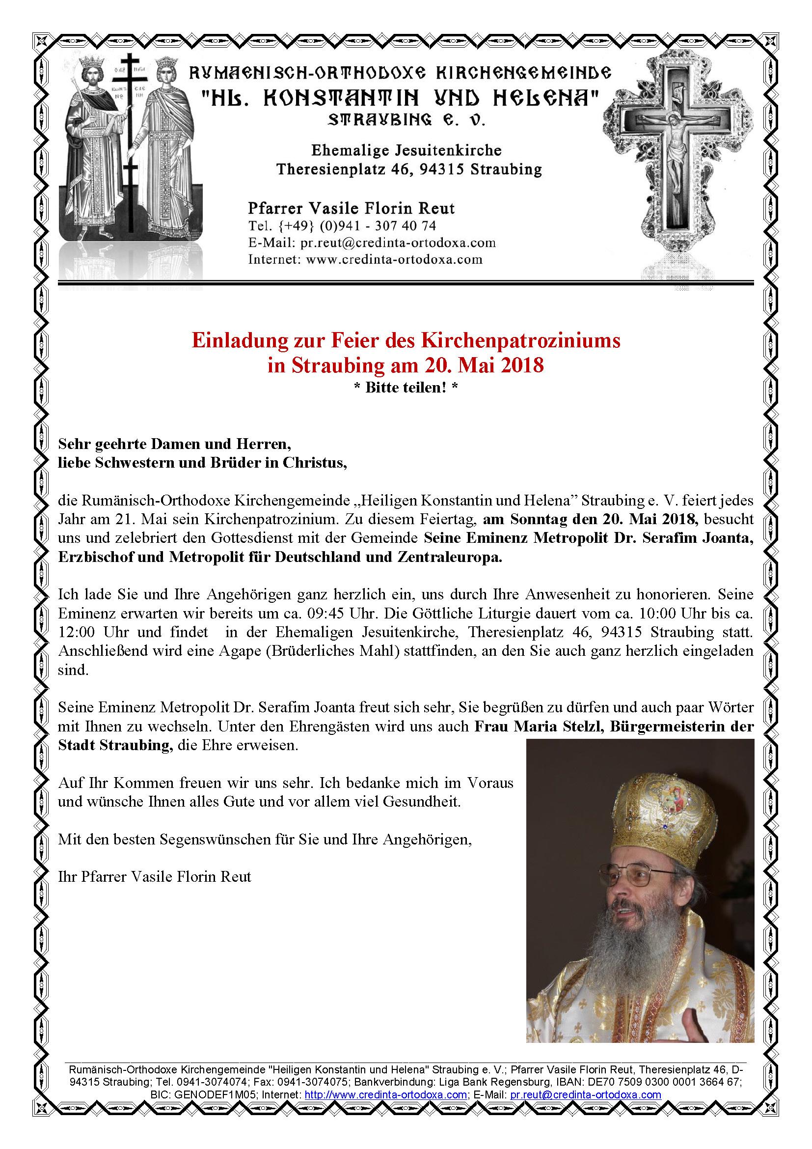 Einladung zur Feier des Kirchenpatroziniums in Straubing am 20. Mai 2018