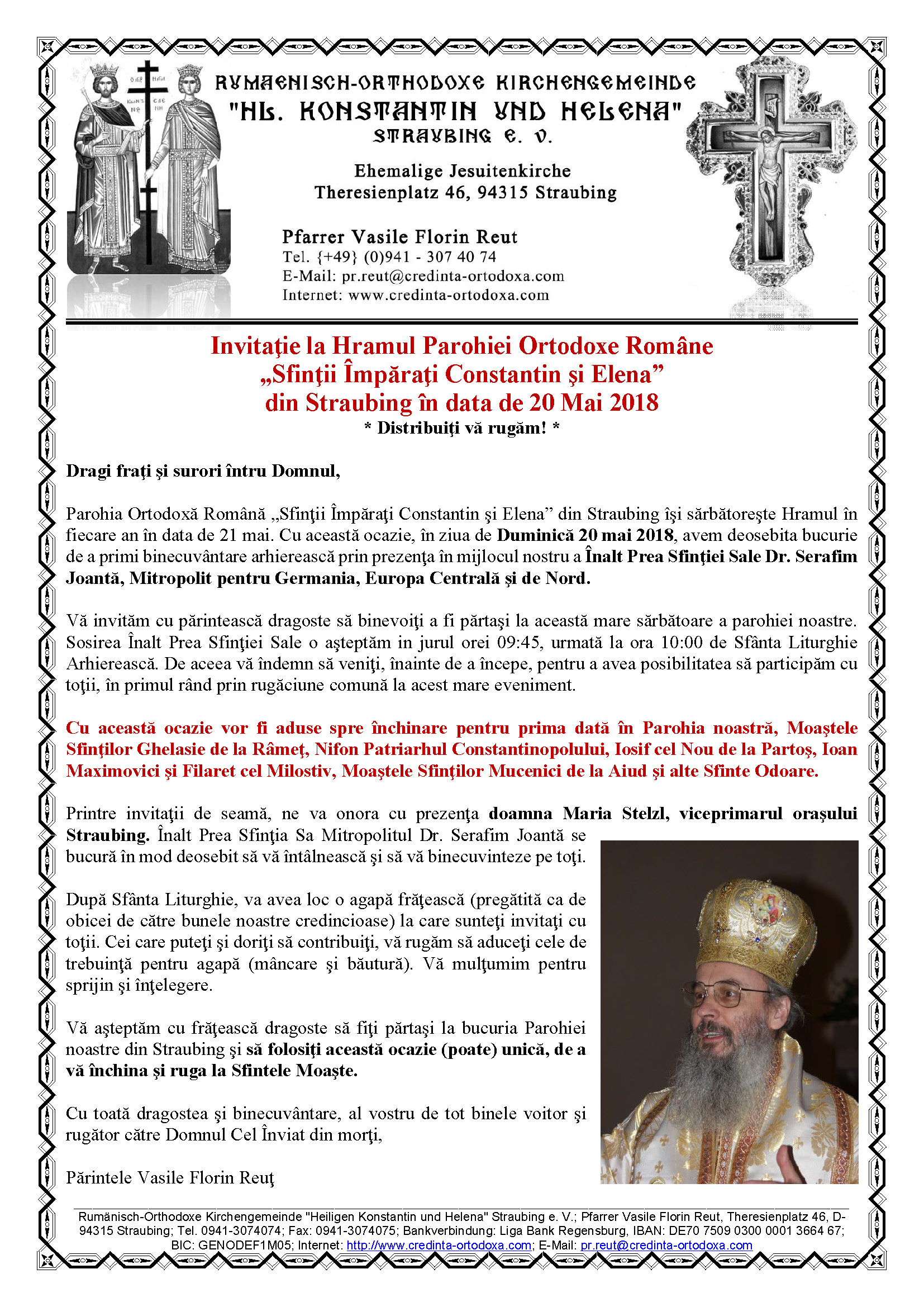 """Invitaţie la Hramul Parohiei Ortodoxe Române """"Sfinţii Împăraţi Constantin şi Elena"""" din Straubing în data de 20 Mai 2018"""
