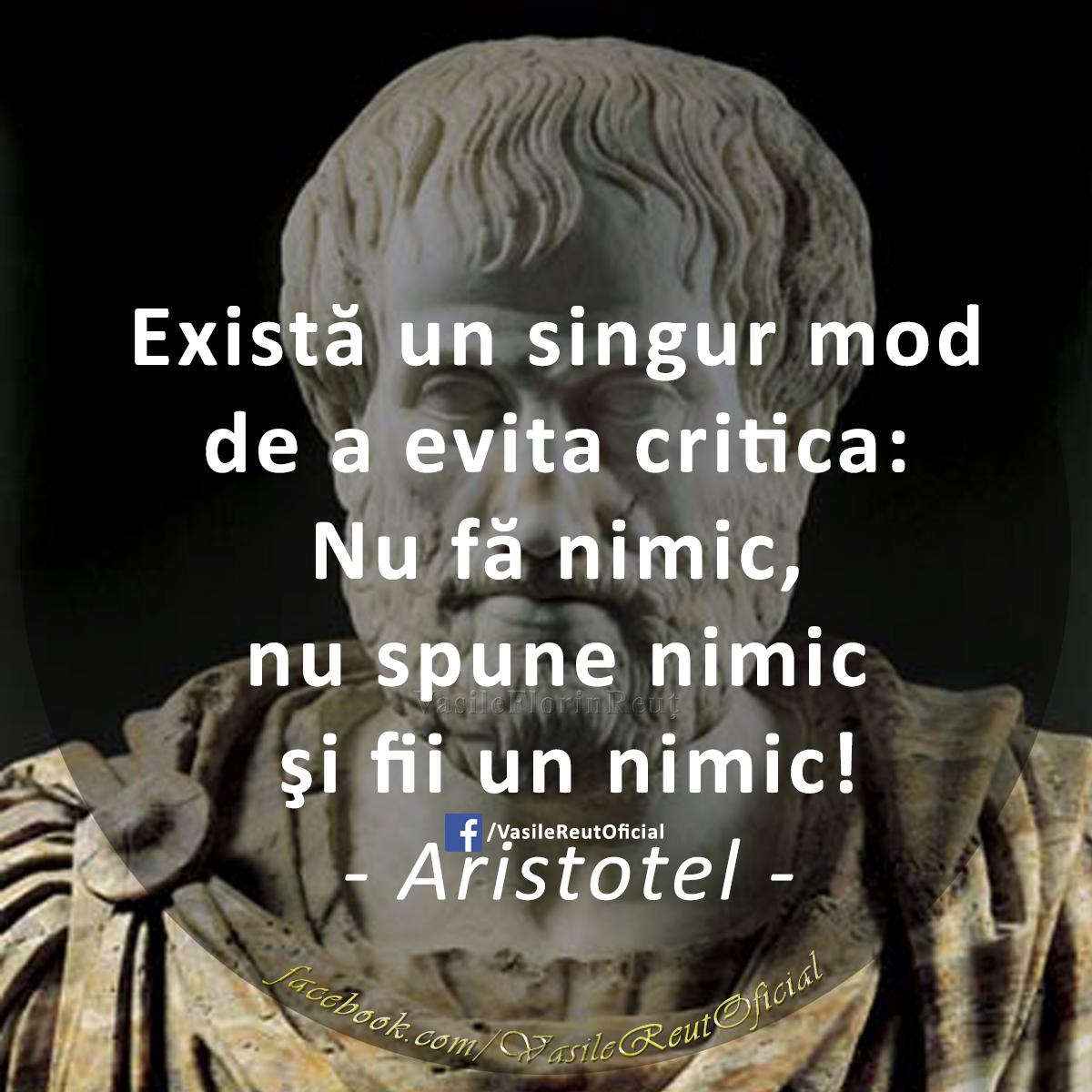 Există un singur mod de a evita critica: Nu fă nimic, nu spune nimic şi fii un nimic (Aristotel)
