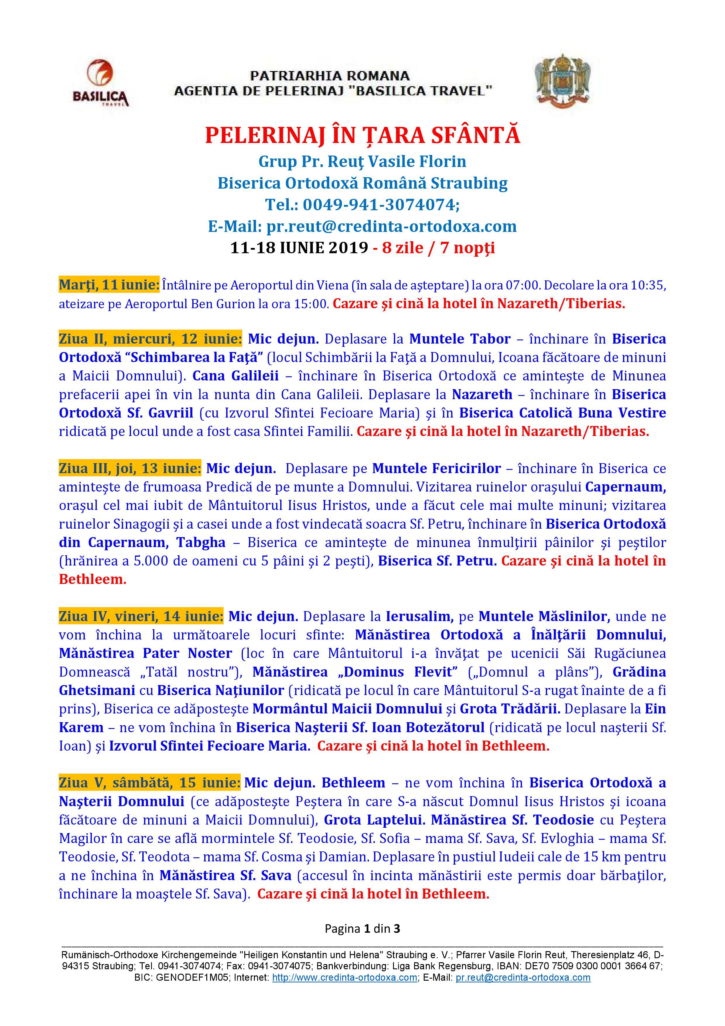 PELERINAJ ÎN ŢARA SFÂNTĂ în perioada 11-18 iunie 2019 organizat de Biserica Ortodoxă Română Straubing