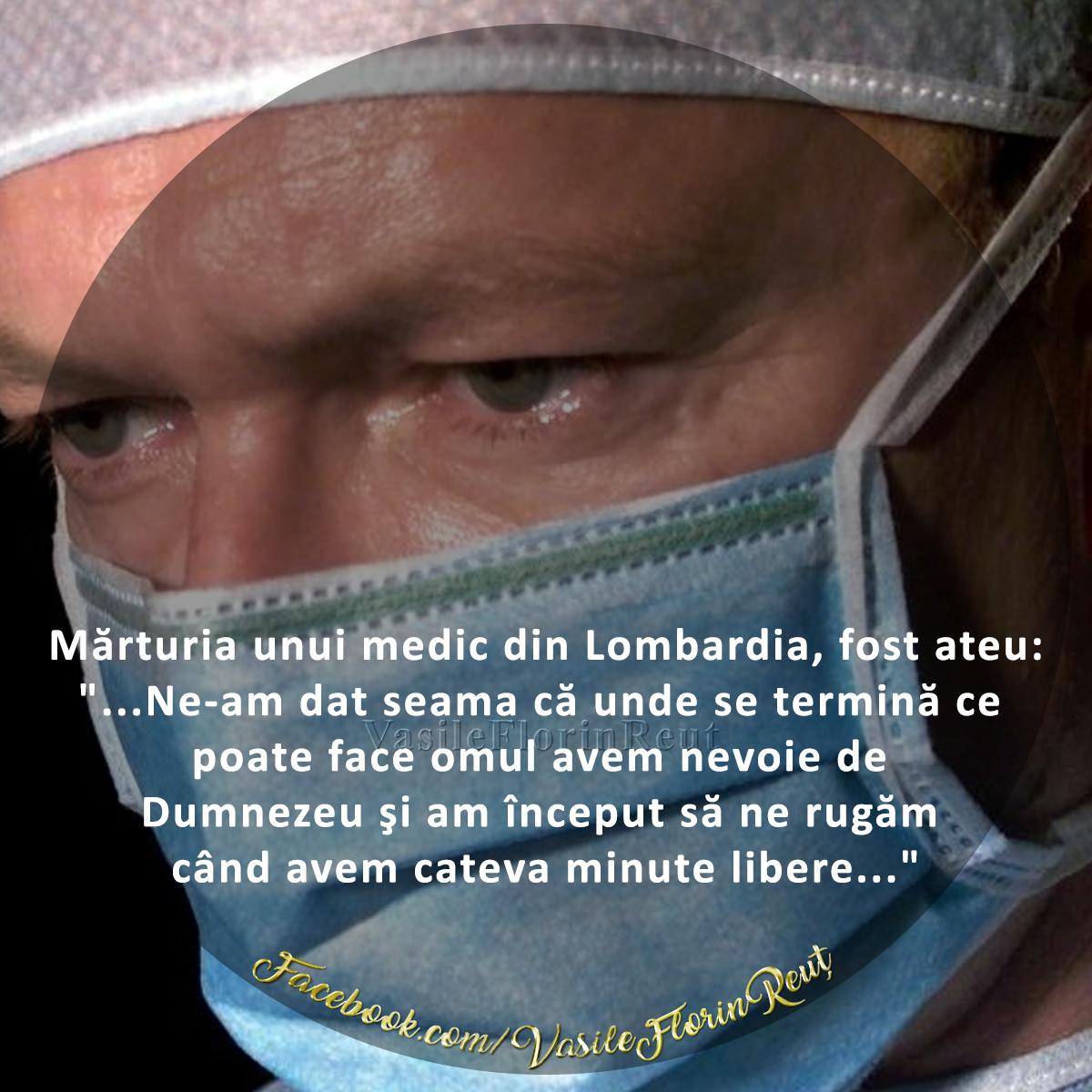 Mărturia cutremurătoare unui medic din Lombardia, fost ateu