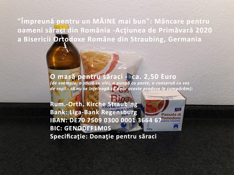 """""""Împreună pentru un MÂINE mai bun"""": Mâncare pentru oameni săraci din România: Acţiunea de Primăvară 2020"""