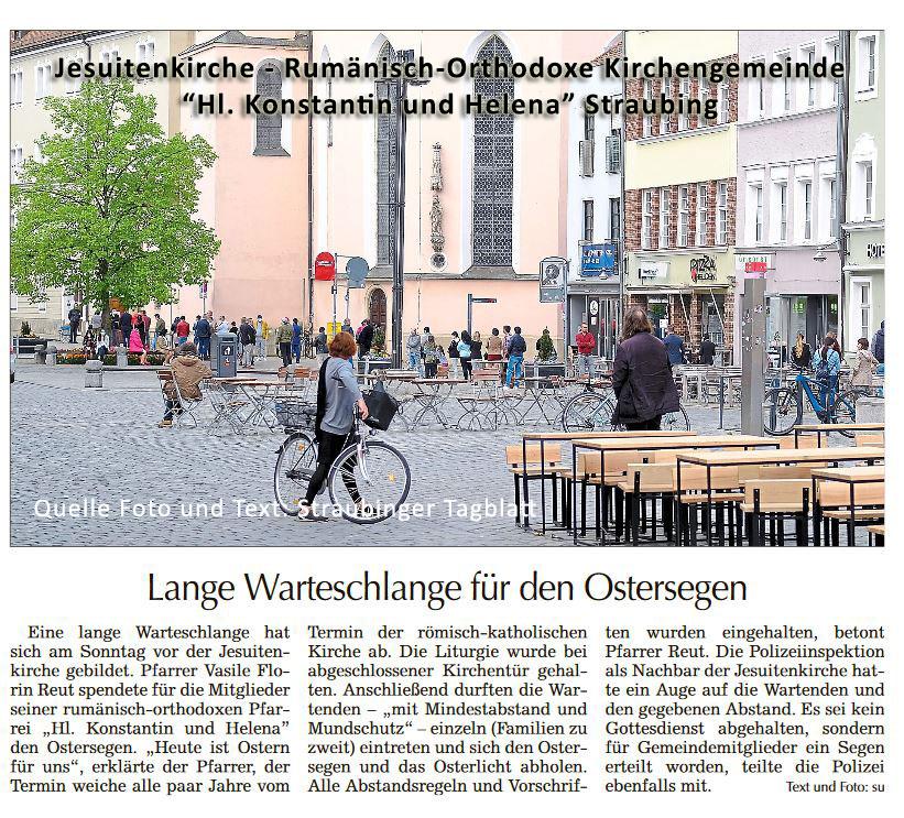 Lange Warteschlange für den Ostersegen - Quelle Foto u. Text: Straubinger Tagblatt